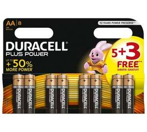 Duracell Plus Power Alkaline AA/AAA Batteries -Pack of 5+3 Free £2.49 @ argos