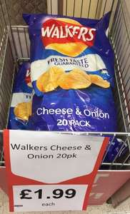 20 packs walkers cheese and onion £1.99 instore @ Heron Foods