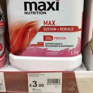 1.1kg maxinutrition max in store only - £3 @ Wilko