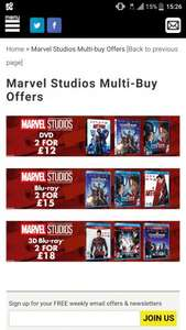 Marvel Studios DVD (2 for £10.80) / Blu-Ray (2 for £13.50) / 3D Blu-Ray (2 for £16.20) (or £12/15/18 without code) at ZOOM.co.uk
