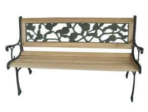 3 Seater Outdoor Home Wooden Garden Bench with Cast Iron Legs £33.90 delivered - (3 styles to choose from) @ mantradingltd / ebay