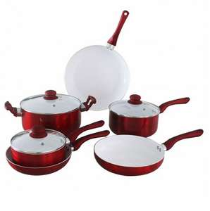Ceramic Red 6 Piece Saucepan Set for £20 + Free click & collect @ tescodirect