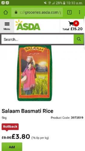 Salaam rice 5kg £3.80 @ Asda