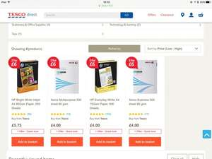 Two packs of 500 sheets printer paper £6 at Tesco