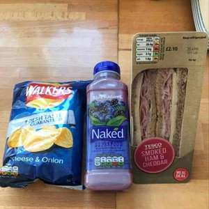 Tesco express meal deals naked drink included normally £2.50 so sandwich and crisps only cost 50p - £3