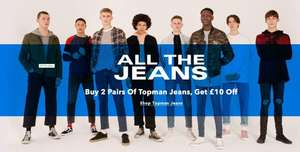 Buy 2 pair of jeans get £10 off at Topman