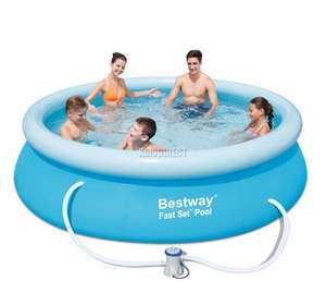 "Bestway Fast set round pool 10ft wide by 30"" deep with filter pump rrp £99.99 now £47.90 delivered @ eBay sold by kmsdirectshops"