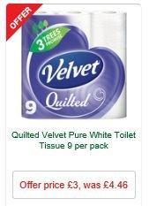 Velvet Quilted Toilet Tissue - 9 Pack (3 Layer) £3 MORRISONS