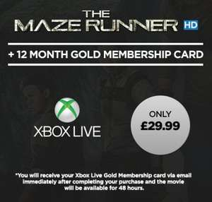 12 Month's Xbox Live Gold & Maze Runner HD - £29.99 - Wuaki.tv