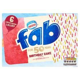 Nestle Fab Limited Edition Lollies Birthday Cake Flavour (6 x 58ml) / Strawberry Ice Lollies (6 x 58ml) was £2.25 now £1.00 (Rollback Deal) @ Asda