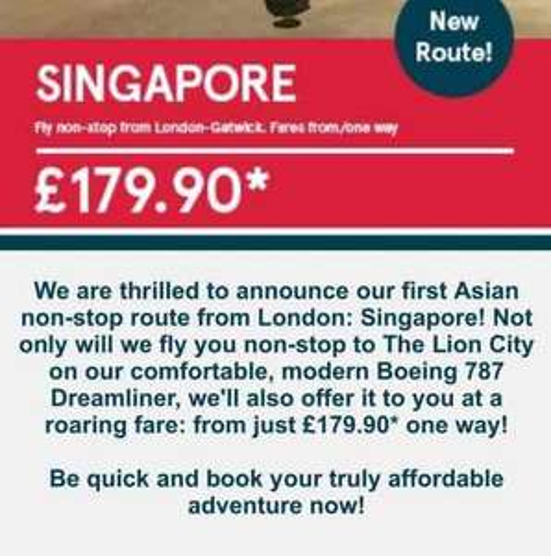 Norwegian - Gatwick to Singapore from £179.90 one way