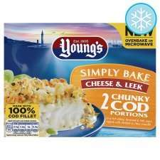 Youngs simply bake cod with leeks and cheese 69p Tesco