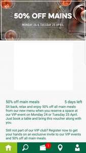 50% Main Meals at Harvester