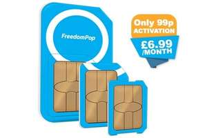 FreedomPop SIM Mobile phone service FREE 200 minutes, 200 texts and 200MB each month (99p activation fee)