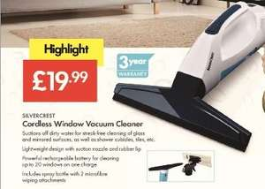 Window Vacuum Cleaner Cordless - £19.99 LIDL (Silvercrest) - 3 Year Warranty