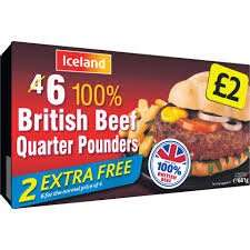 6 Beef Quarter Pounders - 98% Beef - Frozen £1.75 @ Iceland