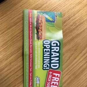 Free 6 inch Sub at Subway (Norwich - Dereham Rd) when buying a drink on 21/4