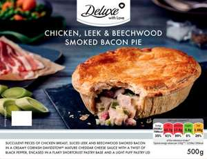 Deluxe cooked steak & ale pie 500g/ Deluxe chicken, leek & beechwood smoked bacon pie, 500g, half price £1.24 instore @ Lidl (also found for 99p!)
