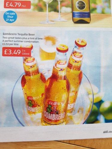 Sombrero Tequila Beer (3x330ml) only £3.49 @ Aldi