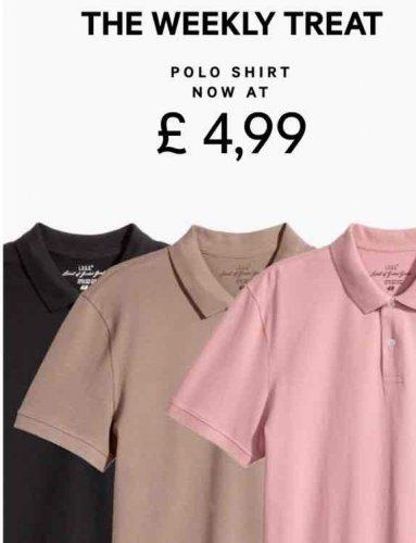 H&M polo shirts £4.99 (£3.99 del)