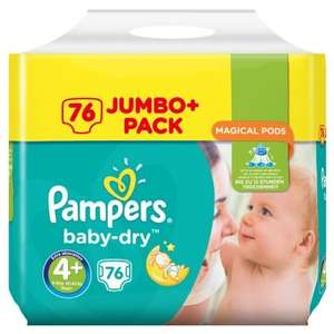 Pampers Baby Dry Nappies 76 Jumbo Pack Size 4+ £4.99 @ B&M Instore