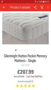 silentnight single mattress £207.99 @ argos (£8.95 delivery - £216.94)