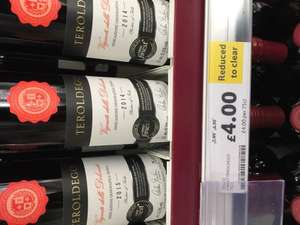 6 bottles of Tesco Finest Teroldego red wine for £18 normally £48