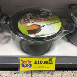 Pyrex 28cm large non stick stock pot £10.99 at homebargains where Tesco, Asda, Sainsbury's sell the same for £20 or more
