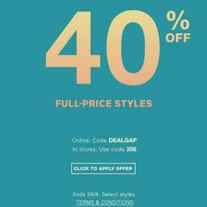 gap 40% off new collection