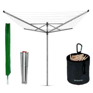 Brabantia Lift-O-Matic Rotary Airer with Accessories, 50 m - Silver £49.99 @ Amazon