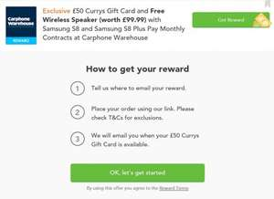 (£50) Currys Gift Card and Free Wireless Speaker (worth £99.99) with Samsung S8 and Samsung S8 Plus Pay Monthly Contracts Carphone Warehouse @ VoucherCodes (contracts from £44pm for 24mths + £30 upfront = £1086)
