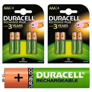 £9.49 inc delivery Duracell Recharge Plus Ni-Mh Rechargeable AAA HR03 NiMH Batteries 750mAh - 8 Pack @ 7dayshop