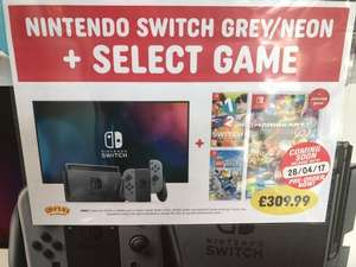 Nintendo Switch + Mario Kart 8  £309.99 @ Smyths instore