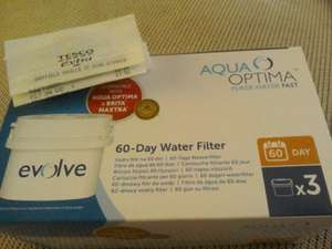 Aqua Optima Evolve 60 day water filters.  Box of 3 for £7.50 instore at Tesco Extra, Saville Street, Sheffield.