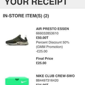 Nike Air Presto £25 @ Leeds Nike outlet (£50 with 50% promotion in store)