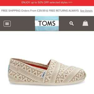 Toms sale online - up to 50% off