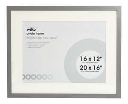 Wilko Grey Photo Frame 16x20 inches (12x16 with mount) £5.00 at Wilkos (Free c&c)