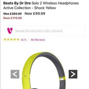 Beats Solo 2 Wireless Headphones  reduced on Very for £99.99 - £83.98 delivered with new account code