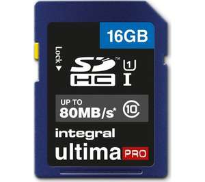 16GB 80MB/s Integral Ultima Pro SD card £4.99 Currys inc free postage
