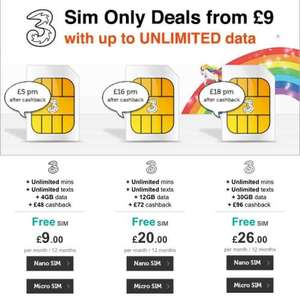 3 Mobile, unlimited mins/texts/ 4gb data.  £9/ month or £5/month with cash back - Total before cashback: £108 @ Mobilephonesdirect
