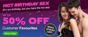 Birthday offer at Lovehoney up to 50% off