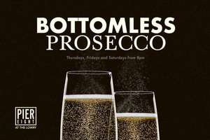 Unlimited prosecco free for 1.5 hours when you eat 3 courses at Pier Eight restaurant at The Lowry theatre, Salford (Manchester) £20