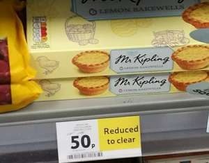 Tesco: Mr Kipling Lemon Bakewells RTC 50p (from £1.37)