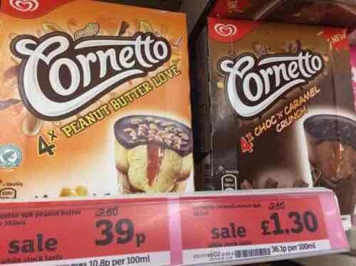 Peanut butter  cornetto's 39p - Sainsburys instore