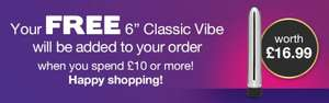 Free Lovehoney Classic vibrator when you spend £10 @ Lovehoney. (£3.50 shipping)