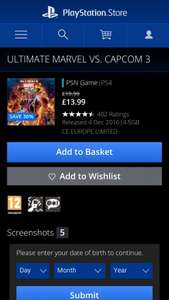 Ultimate marvel vs capcom 3 ps4 @ psn uk - £13.99