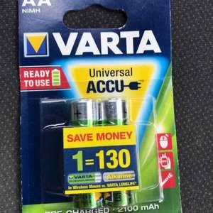Varta 2100mAh rechargeable battery's 2 packs for £4.00 - 4 batteries Lidl (Market Drayton)