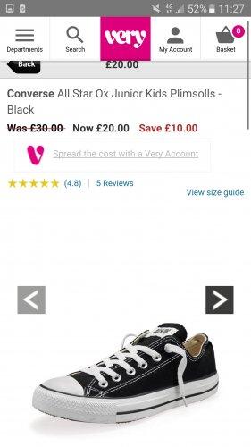 Converse All Star Ox Junior Kids Plimsolls - Black - £20 @ Very