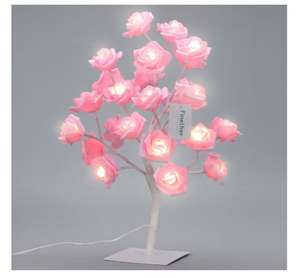 Finether 17.7 inches 45 cm High Battery Operated Rose Tree Table Lamp with 24 Warm White LEDs and Adjustable Branches - £13.99 prime / £18.74 non prime Sold by FINETHER and Fulfilled by Amazon - Lightning deal
