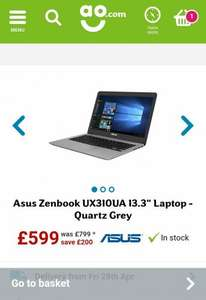 UX310UA-FB485T Asus Laptop i5 - u7200 ,ssd256 - £579.00 (using code) @ AO